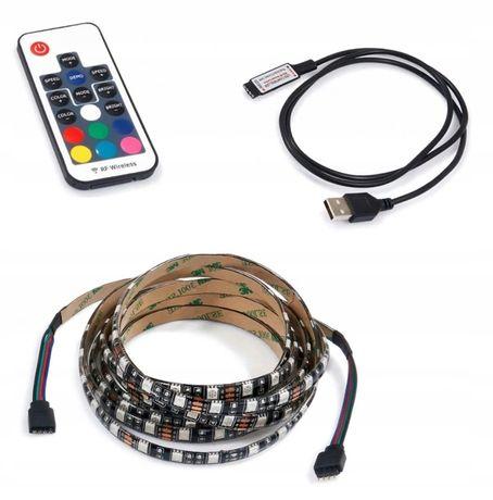 Taśma LED 5V RGB 5m pilot radiowy ZESTAW kabel USB