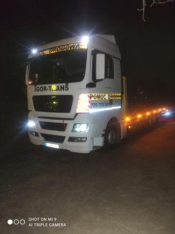 Transport laweta maszyn budowlanych ciągników , pomoc drogowa 15 ton