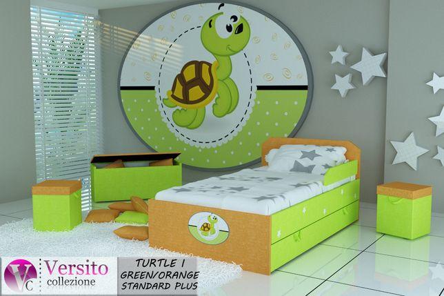 Super łóżko dla dziecka z grafiką słodkiego żółwika,dziecięce,dostawa