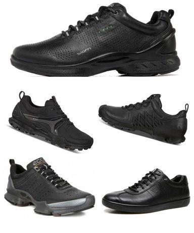 Мужские кожаные кроссовки кеды Ecco (Экко), чёрные, белые, разм.40-44
