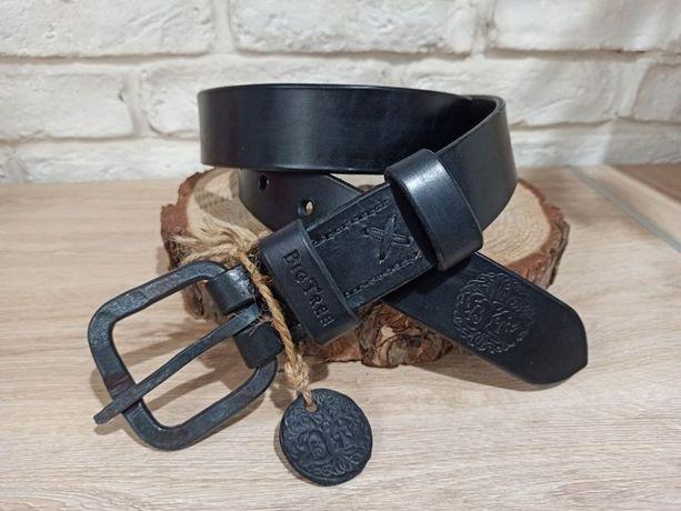 Pas ręcznie szyty vintage czarny, oryginalny wygląd