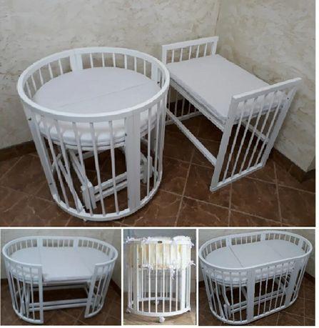 Дитяче ліжко + 2 матраци, Кроватка-трансформер Mioobabe Aura 9 в 1