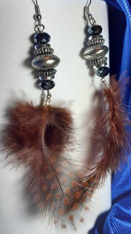 Kolczyki pióra brązowe