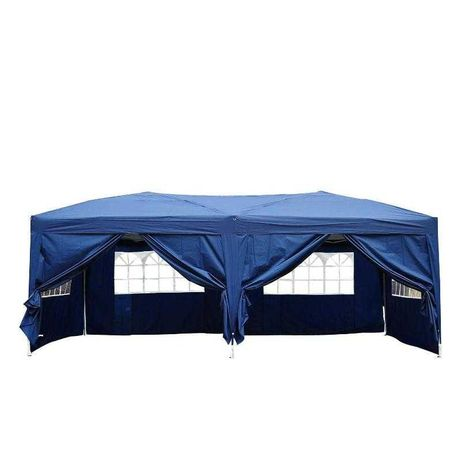 Pawilon namiot ogrodowy z zasłonami niebieski 3x6m fh