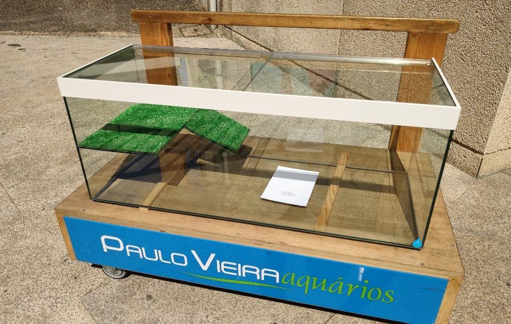 Aquário Tartarugueira 100 x 40 x 40 c/ tampas e plataforma