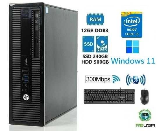 Pc-OFFICE HP-4ªGr.-I5 4570-3.2Ghz, 12G, SSD240+HDD500, WIFI+BT,Kit,W11