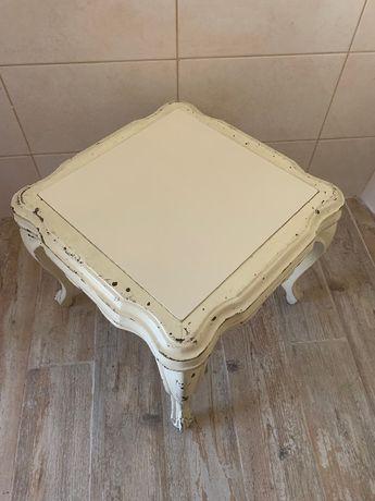 Mesa de sala de apoio vintage em madeira maciça com 2 tampos
