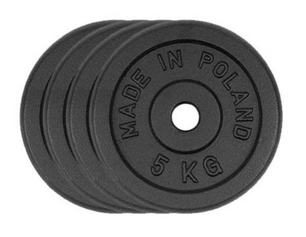 Obciążenie żeliwne zestaw 20kg 4 talerze po 5kg 28mm