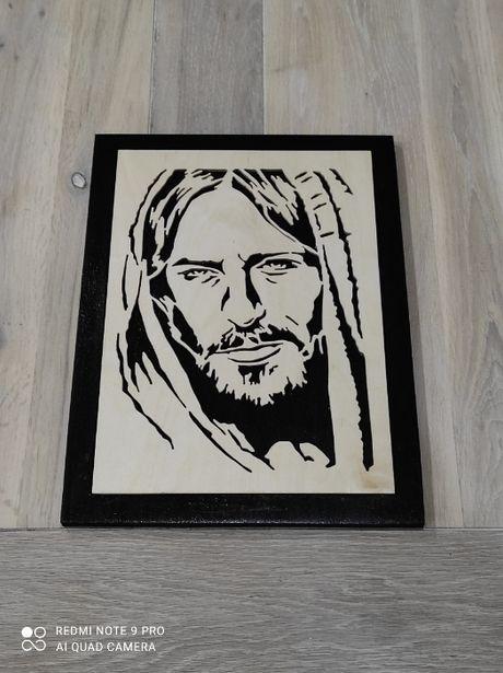 Portret JEZUSA Rękodzieło z drewna
