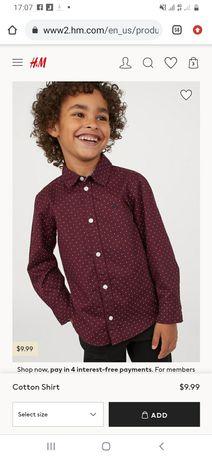 Нарядна рубашка Святкова рубашка H&M Нарядная рубашка на мальчика