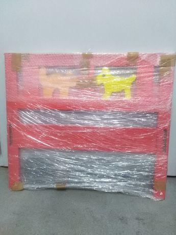 czerwone łóżko dziecięce Ikea Kritter 160x70 cm, stelaż, materac