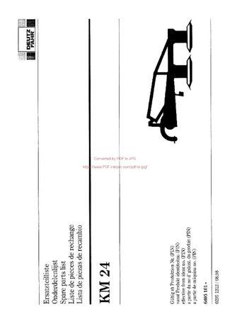 Katalog części kosiarka Deutz fahr KM 24
