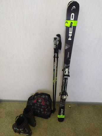 Комплект лыжи HEAD, палки, ботинки, сумка.