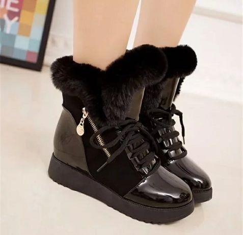 NOWE czarne śniegowce botki kozaczki zimowe, rozmiar 37 - małe 38