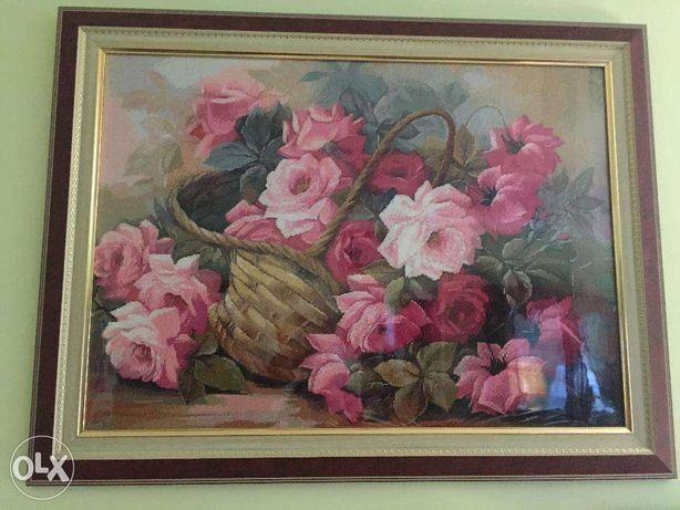 """Вышитая картина """"Корзина с розами""""60см Х 43см"""