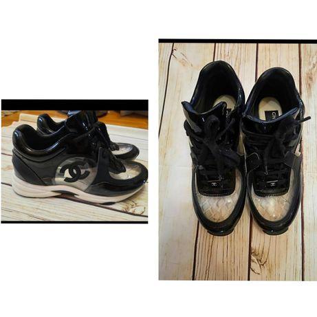 Кроссовки Chanel (натуральные) с силиконовыми вставками ( р.38)