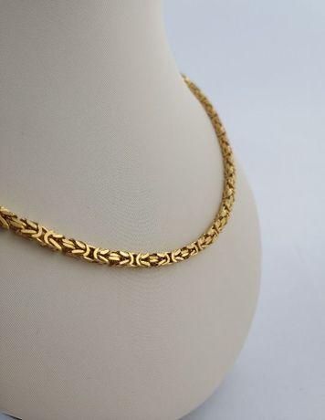 Luksusowy łańcuszek królewski bizantyjski srebro 925+24k złoto PREZENT