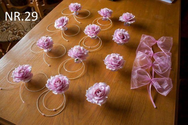 Pudrowy róż oraz inne kolory. Dekoracja na samochód /auto do ślubu