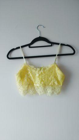 Koronkowy bralet żółty zamek zip na ramiaczkach crop top