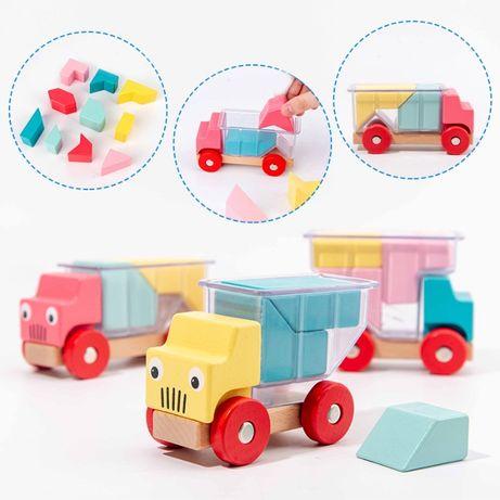 Деревянные игрушки машинка конструктор 3 машинки в наборе