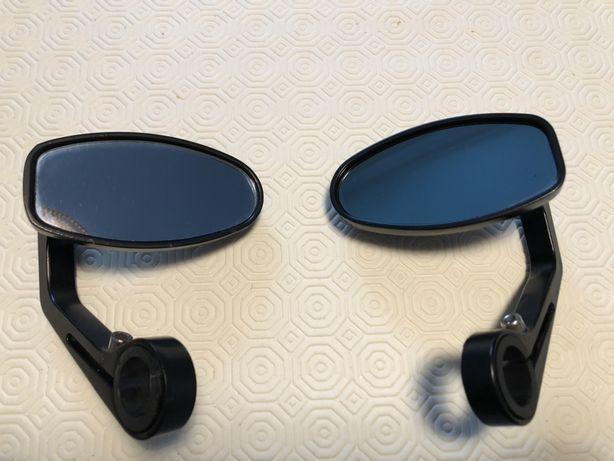 Par de espelhos ovais moto usados cafe racer scrambler
