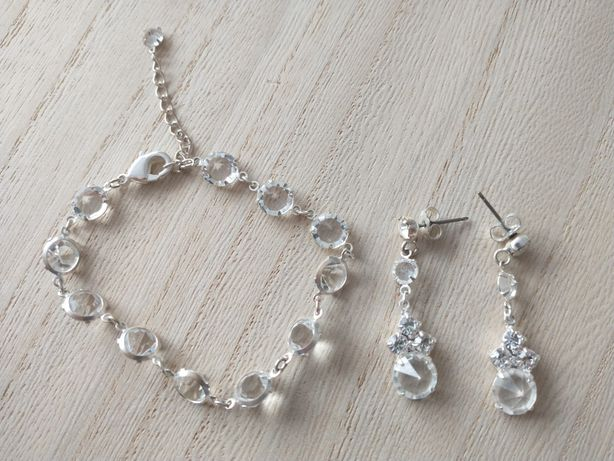 Kolczyki bransoletka na ślub biżuteria