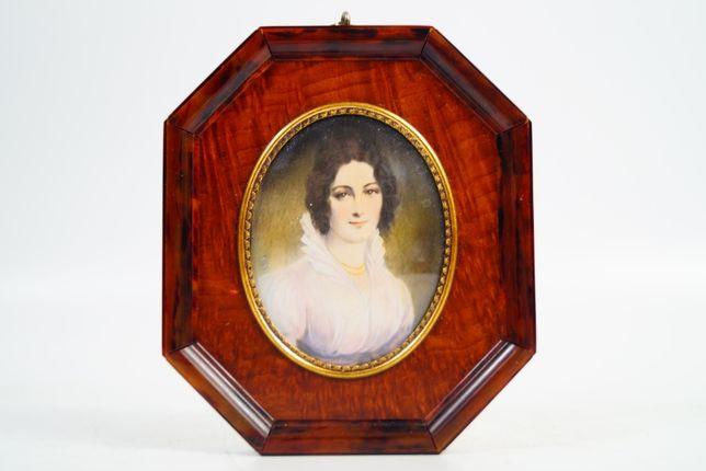 Obraz malowany pod lupą miniatura dama obrazek
