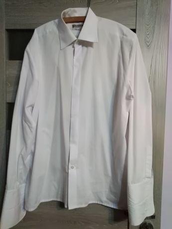 Biala koszula na spinki r XXL