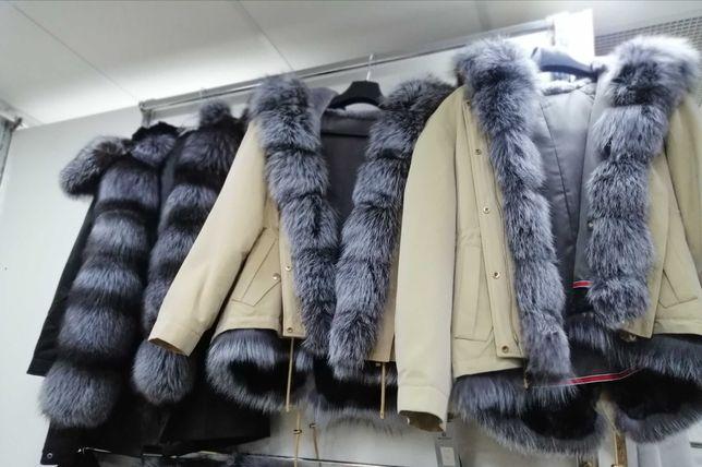 Parka gęste lisy premium kurtka zimowa puchowa nowość futro naturalne