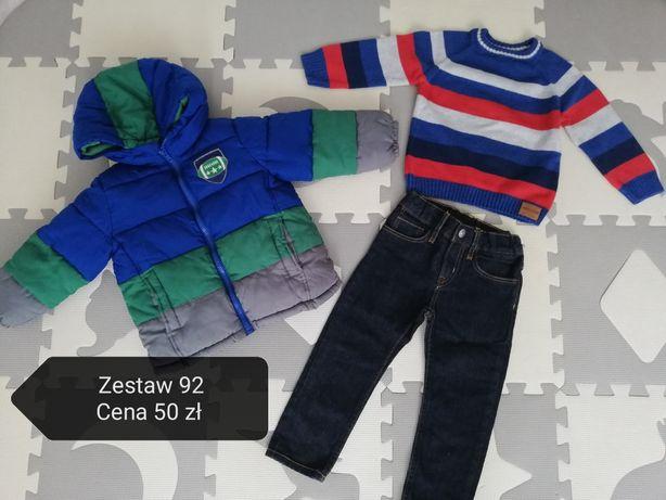 Spodnie H&M chłopięce 92, kurtka Benetton i sweterek