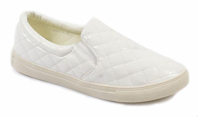 OUTLET Nowe Tenisówki Białe Slip On Pikowane Białe rozmiary 38,39
