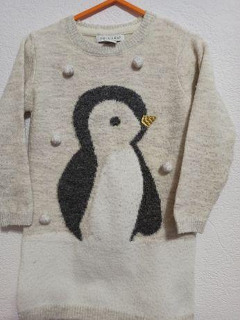 Свитер туника с пингвином Primark 3-4 года