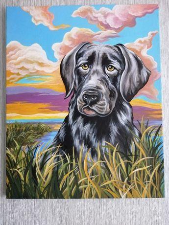 Купить собаку картина ручная работа Из рук в руки или отправка