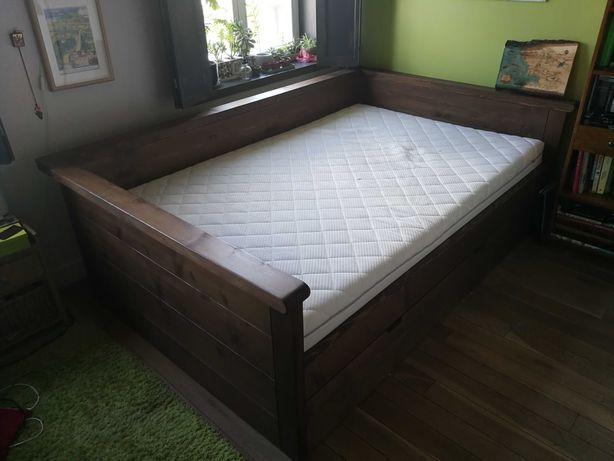 Łóżko drewniane + materac 140x220