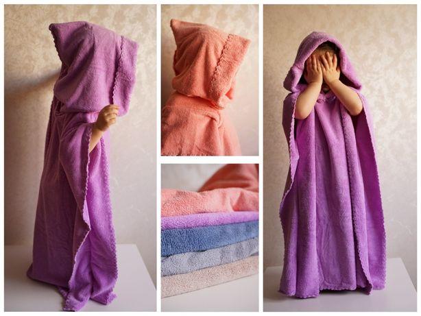 пончо полотенце дитяче, детский халат для девочки мальчика,