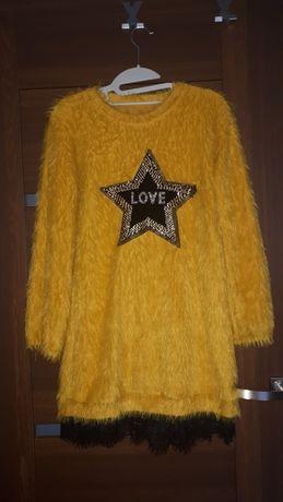 Futrzasta żółta sukienka