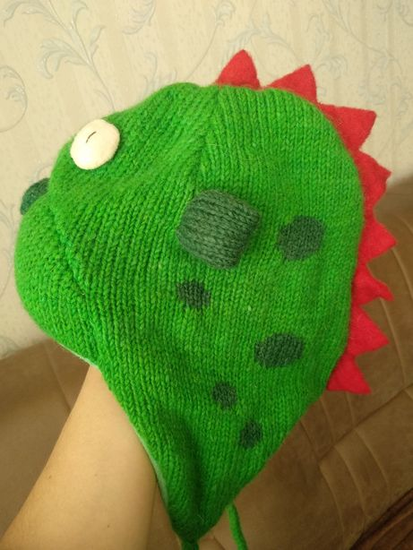 Теплая шапка динозавр , зверошапка зима - демисезон.