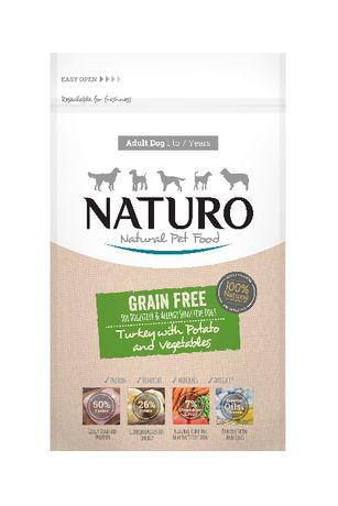 Naturo Grain Free 2kg - indyk z ziemniakiem - delikatna , na alergie