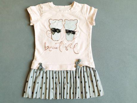 100% słodyczy sukienka plisowana 110 4-5 lat różowa kotki