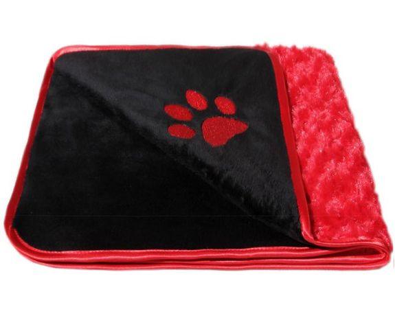 Kocyk futerkowy, idealne okrycie dla pieska lub kotka czarno-czerwony