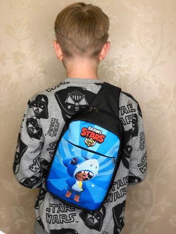 Сумка бананка через плече мини-рюкзак з Акулою Бравл Старс Brawl Stars