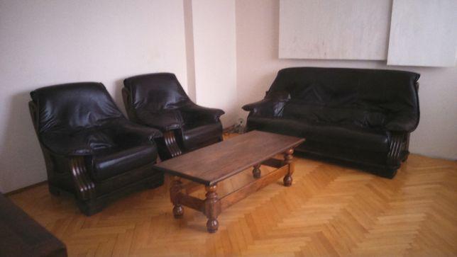 Meble dębowe, zestaw sofa 3 os+ 2 fotele + ława, skóra