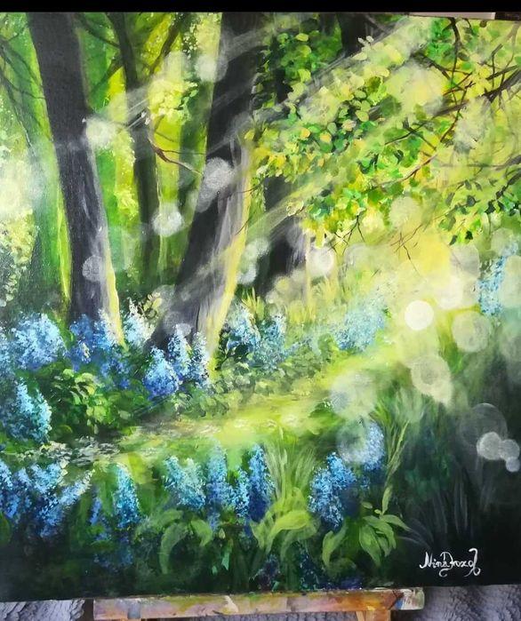 Oryginał 50x50 las porankiem Brzeg - image 1