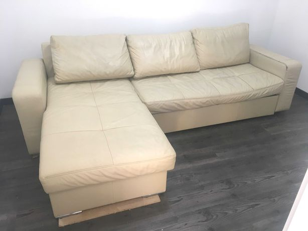 Sofa, Narożnik rozkładana, skórzana 3 osobowa