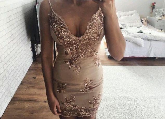 sukienka złota na ramiączka koronkowa koronka