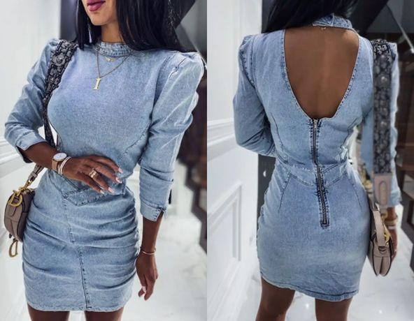 Sukienka NOWA szmizjerka jeansowa 5671 bufki 40 L 42 XL jeans