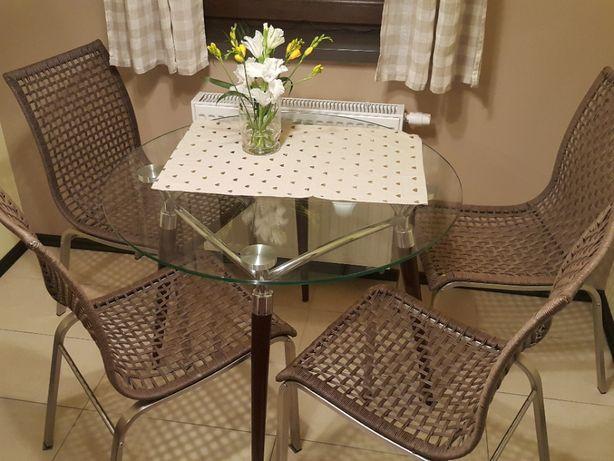 Krzesło 4 sztuki: kuchenne Inox/plecionka brąz