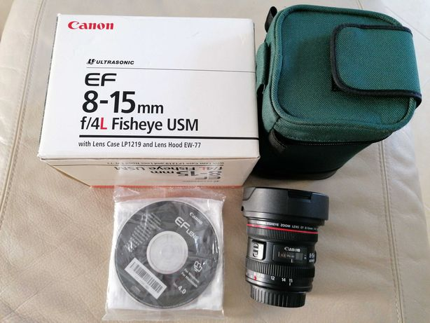 Lente Canon 8-15 F4 L Fisheye como nova c/ caixa e bolsa de transporte