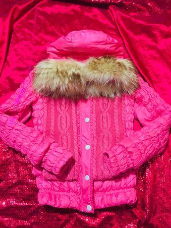 Розовая куртка пуховик мех натуральный енот sx.s