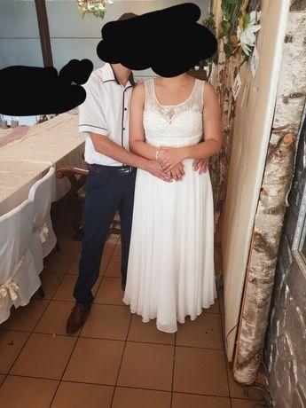 Długa biala sukienka na poprawiny lub ślub cywilny